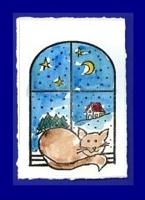 Motivstempel - Katze am Fenster