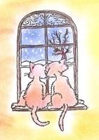 Motivstempel - Katzen am Fenster