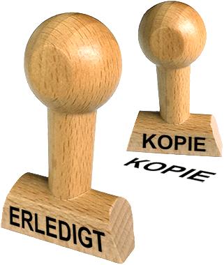 Holzstempel mit Lagertext