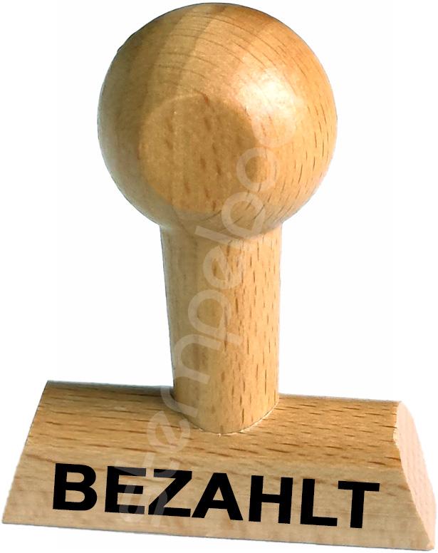 """Holzstempel mit Lagertext """"BEZAHLT"""""""