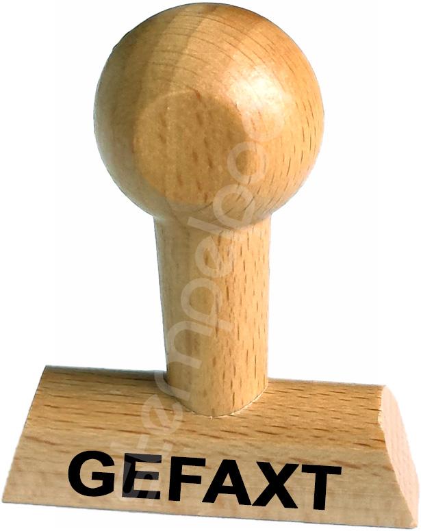 """Holzstempel mit Lagertext """"GEFAXT"""""""