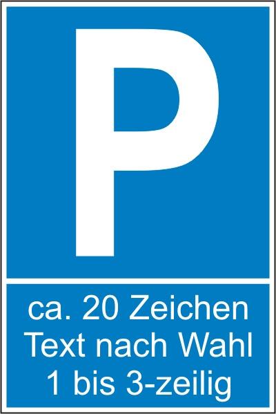 Parkplatz-Reservierungsschild mit Text nach Wahl (Kunststoff 25x15cm)