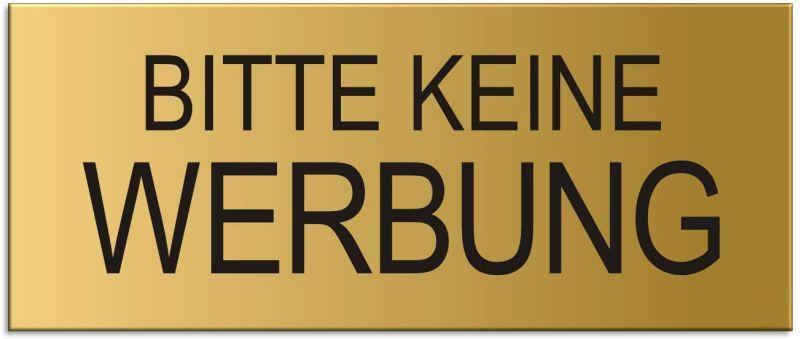 """Briefkastenschild """"Bitte keine Werbung"""" in Gold,  Format 60 x 25 mm, selbstklebend"""