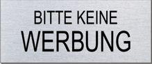 """Briefkastenschild """"Bitte keine Werbung""""  Format 60 x 25 mm, selbstklebend"""