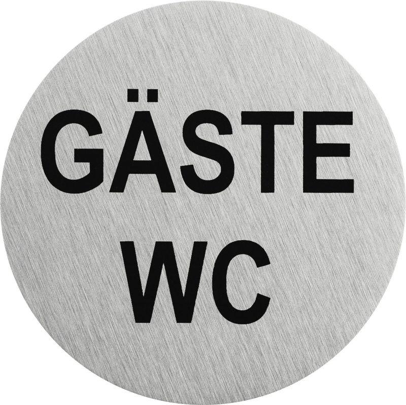 """Edelstahlpiktogramm """"Gäste WC"""" Format Ø 75 mm, selbstklebend"""