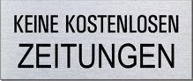 """Briefkastenschild """"Keine kostenlosen..."""" Format 60 x 25 mm, selbstklebend"""