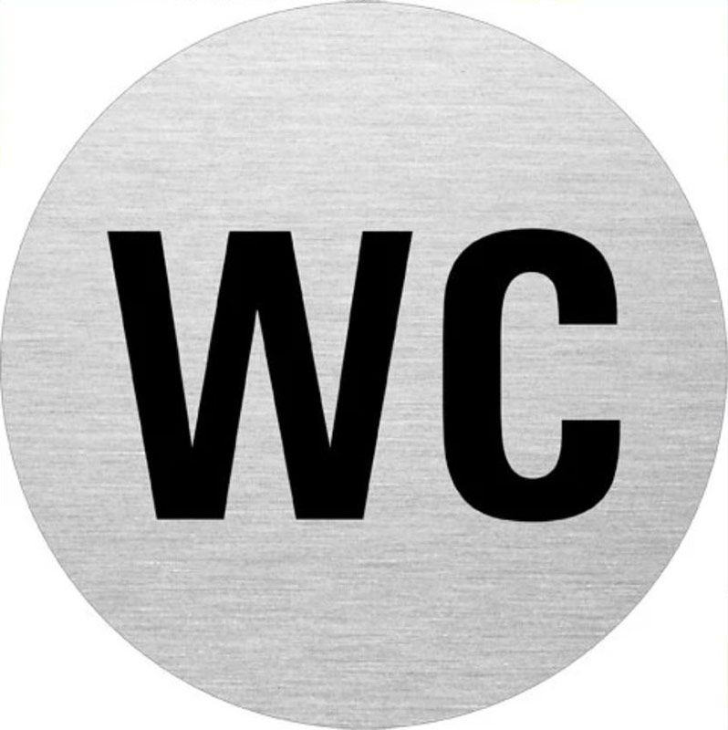 "Edelstahlpiktogramm ""WC"" Format Ø 75 mm, selbstklebend"