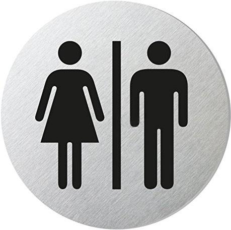 "Edelstahlpiktogramm ""WC Damen/Herren"" Format Ø 60 mm, selbstklebend"