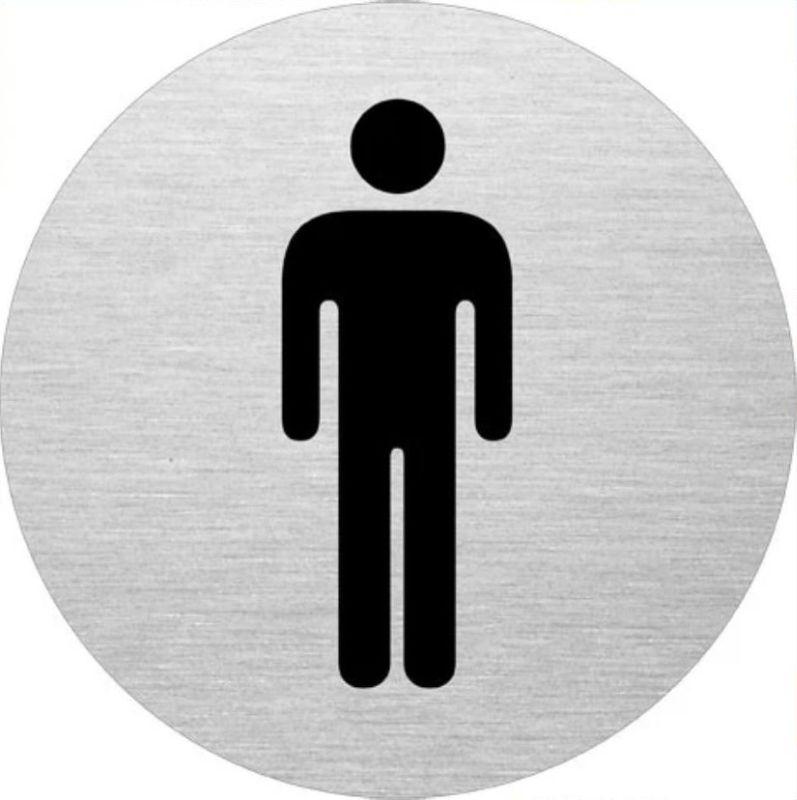 "Edelstahlpiktogramm ""WC Herren"" Format Ø 75 mm, selbstklebend"