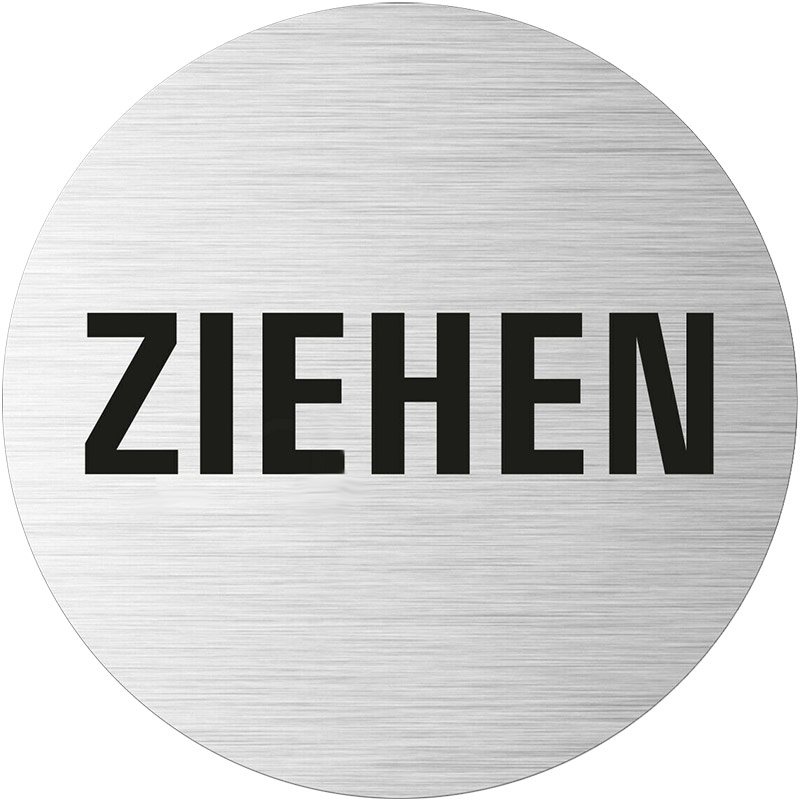 "Edelstahlpiktogramm ""Ziehen"" Format Ø 75 mm, selbstklebend"