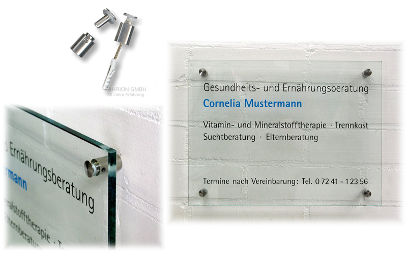 Echtglas-Schild (Hochformat: A4 297 x 210 x 8mm) incl. Wandabstandshalter