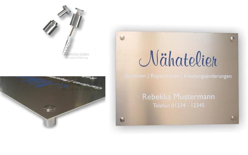 Edelstahl-Schild (Querformat: 500 x 400 x 1,5mm) incl. Wandabstandshalter