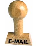 "Holzstempel mit Lagertext ""E-MAIL"""