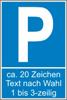 Parkplatz-Reservierungsschild mit Text nach Wahl (Kunststoff 40x25cm)