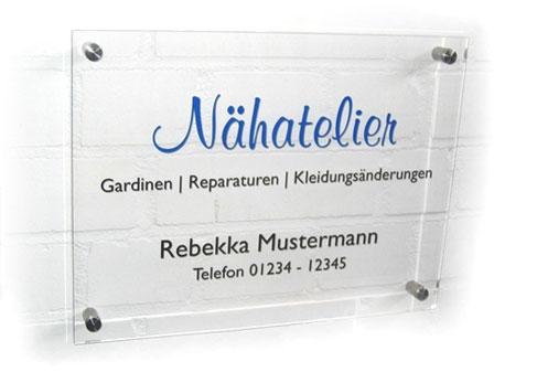 Acrylglas-Schilder klar bestellen