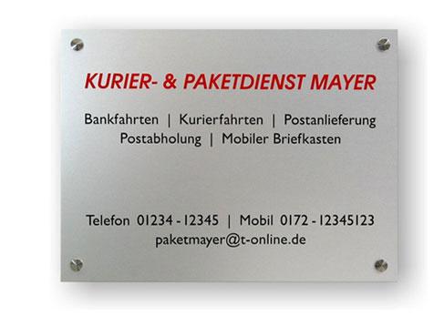 Aluminium Schilder silber bestellen