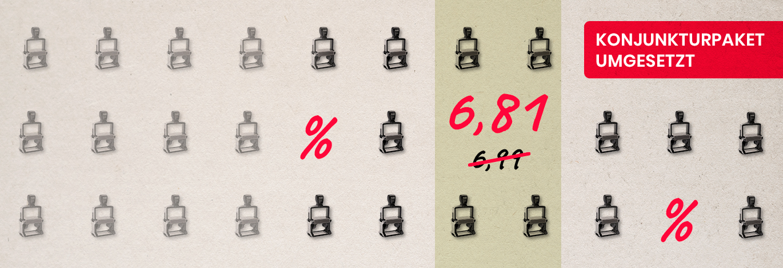 Konjunkturpaket umgesetzt - 16 % MwSt